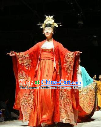 Chinese Encore Dunhuang Tang Dynasty Court Dance Red Dress Stage Performance Costume and Headpiece for Women