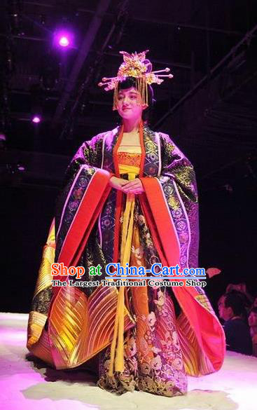 Chinese Encore Dunhuang Tang Dynasty Court Dance Purple Dress Stage Performance Costume and Headpiece for Women