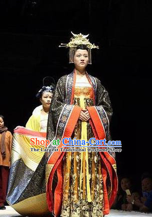 Chinese Encore Dunhuang Tang Dynasty Court Dance Black Dress Stage Performance Costume and Headpiece for Women
