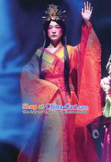 Chinese Encore Dunhuang Han Dynasty Court Dance Red Dress Stage Performance Costume and Headpiece for Women