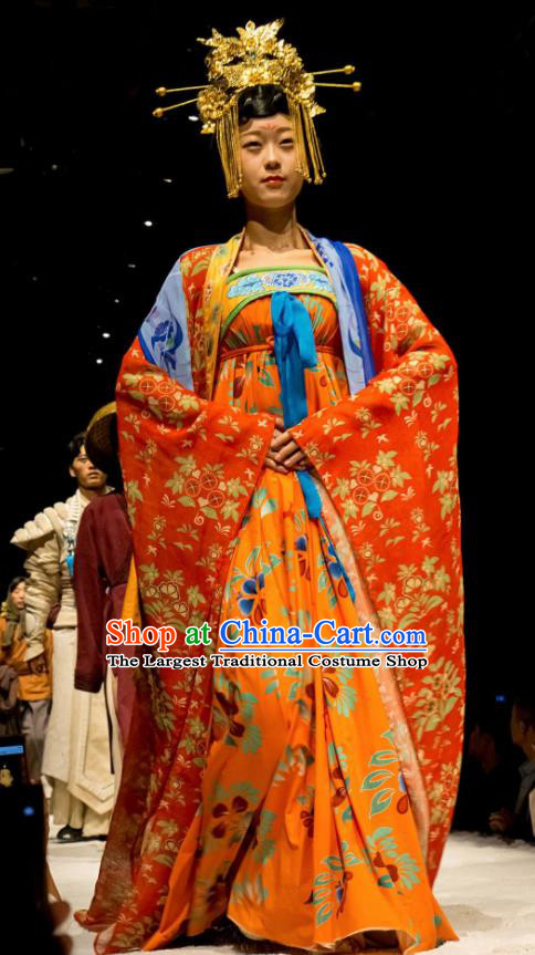 Chinese Encore Dunhuang Tang Dynasty Court Dance Orange Dress Stage Performance Costume and Headpiece for Women
