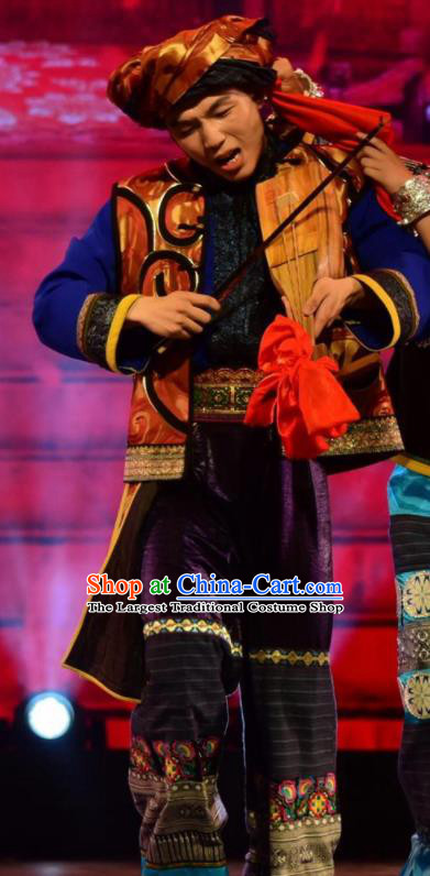 Chinese Jin Show Dan Zhai Miao Nationality Bridegroom Dance Clothing Stage Performance Costume for Men