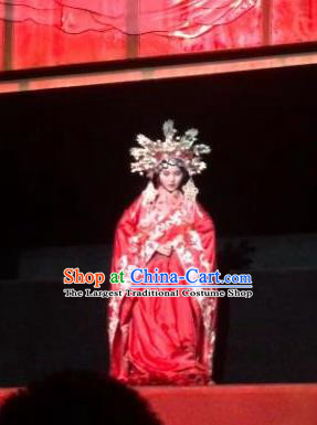 Chinese Encore Pingyao Beijing Opera Dance Red Dress Stage Performance Wedding Costume and Headpiece for Women