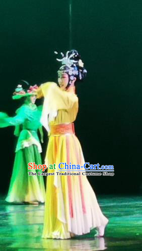 Chinese Picturesque Huizhou Opera Dance Yellow Dress Stage Performance Costume and Headpiece for Women