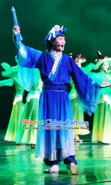 Chinese Picturesque Huizhou Opera Ancient Scholar Dong Yong Clothing Stage Performance Dance Costume for Men