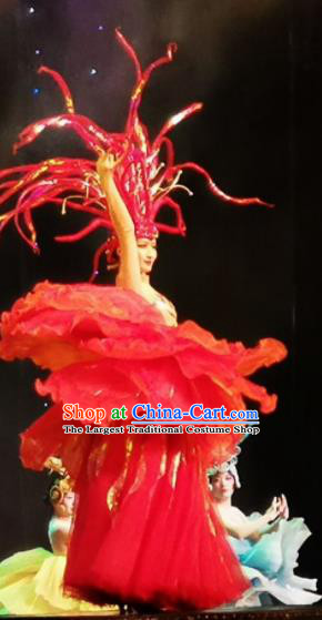 Chinese Picturesque Huizhou Classical Peony Dance Red Dress Stage Performance Costume and Headpiece for Women