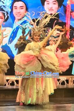 Chinese Picturesque Huizhou Classical Dance Dress Stage Performance Costume and Headpiece for Women