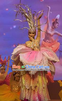 Chinese Picturesque Huizhou Classical Peony Dance Dress Stage Performance Costume and Headpiece for Women
