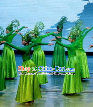 Chinese Picturesque Huizhou Classical Dance Green Dress Stage Performance Costume and Headpiece for Women