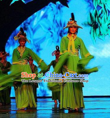 Chinese Picturesque Huizhou Opera Peri Classical Dance Green Dress Stage Performance Costume and Headpiece for Women