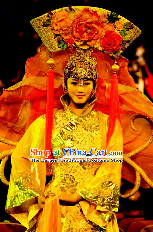 Chinese Picturesque Huizhou Opera Qing Dynasty Palace Lady Dress Stage Performance Costume and Headpiece for Women