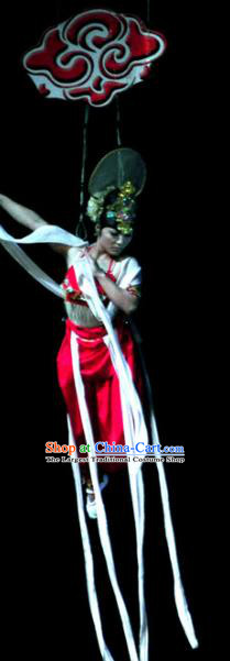 Chinese Picturesque Huizhou Opera Peri Classical Dance Red Dress Stage Performance Costume and Headpiece for Women
