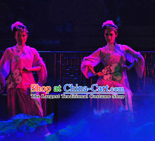 Chinese Picturesque Huizhou Fan Dance Dress Stage Performance Costume and Headpiece for Women