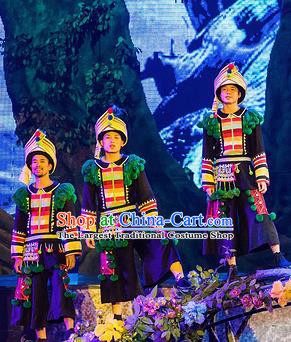 Chinese Charm Xiangxi Tujia Nationality Male Clothing Stage Performance Dance Costume for Men