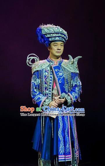 Chinese Charm Xiangxi Tujia Nationality Wedding Blue Clothing Stage Performance Dance Costume for Men