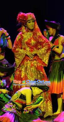 Chinese Charm Xiangxi Tujia Nationality Dance Wedding Dress Stage Performance Costume and Headpiece for Women