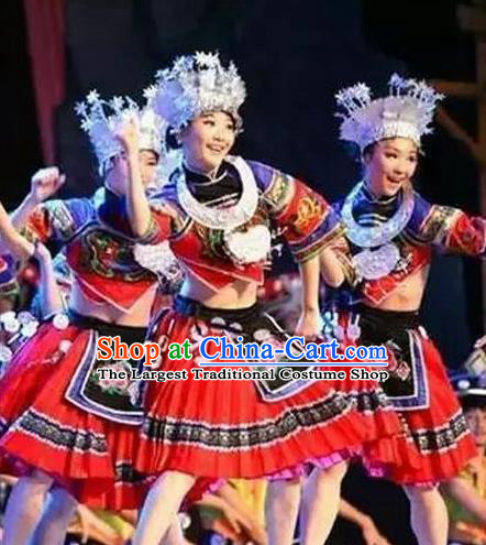 Chinese Charm Xiangxi Tujia Nationality Dance Red Dress Stage Performance Costume and Headpiece for Women