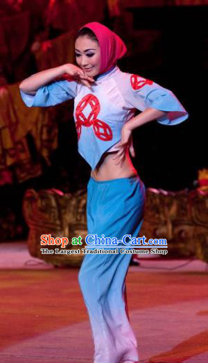 Chinese Oriental Apparel Bai Nationality Dance Dress Stage Performance Ethnic Costume and Headpiece for Women