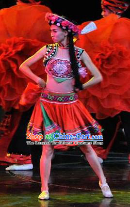 Chinese Charm Xiangxi Tujia Nationality Folk Dance Dress Stage Performance Costume and Headpiece for Women