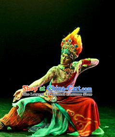 Chinese The Ancient Dunhuang Music Theatre Bodhisattva Red Clothing Stage Performance Dance Costume for Men