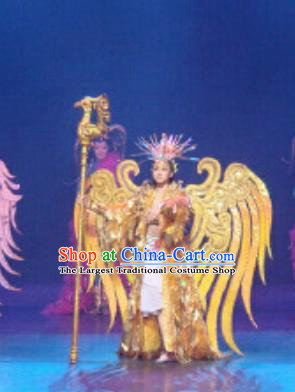 Chinese Golden Mask Dynasty Magic Queen Dance Dress Stage Performance Costume and Headpiece for Women