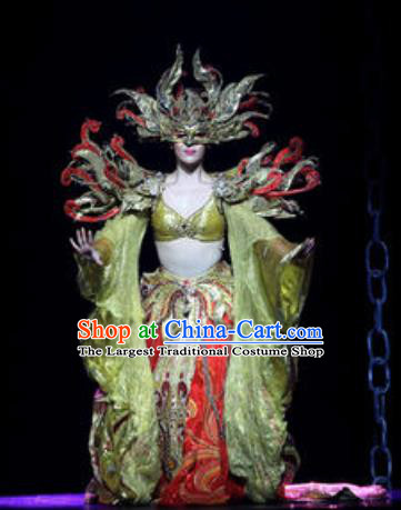Chinese Golden Mask Dynasty Dance Queen Dress Stage Performance Costume and Headpiece for Women