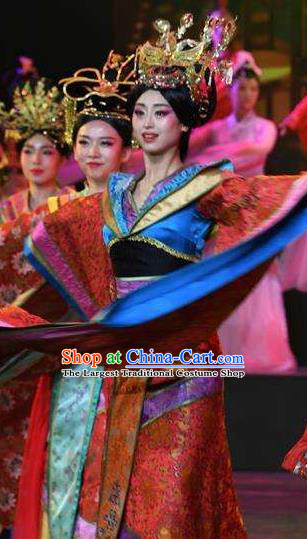 Chinese Han Wind Float In The Sky Han Dynasty Queen Classical Dance Red Dress Stage Performance Costume and Headpiece for Women