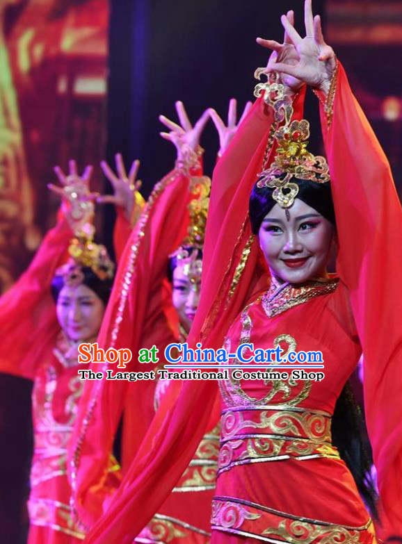 Chinese Han Wind Float In The Sky Han Dynasty Court Classical Dance Red Dress Stage Performance Costume and Headpiece for Women