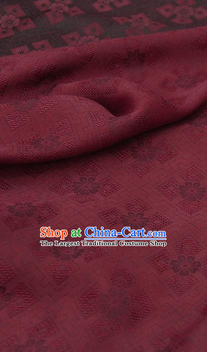 Traditional Chinese Classical Pattern Dark Red Gambiered Guangdong Gauze Silk Fabric Ancient Hanfu Dress Silk Cloth
