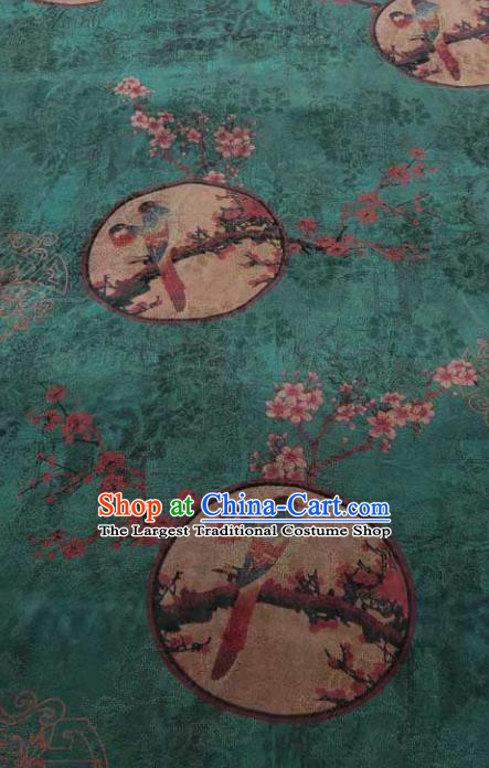 Traditional Chinese Classical Plum Pattern Green Gambiered Guangdong Gauze Silk Fabric Ancient Hanfu Dress Silk Cloth