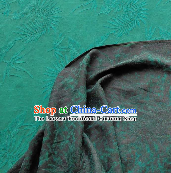 Traditional Chinese Classical Grass Pattern Green Gambiered Guangdong Gauze Silk Fabric Ancient Hanfu Dress Silk Cloth