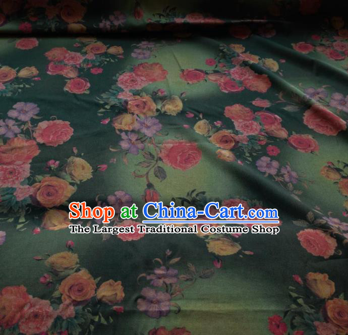 Traditional Chinese Classical Roses Pattern Green Gambiered Guangdong Gauze Silk Fabric Ancient Hanfu Dress Silk Cloth