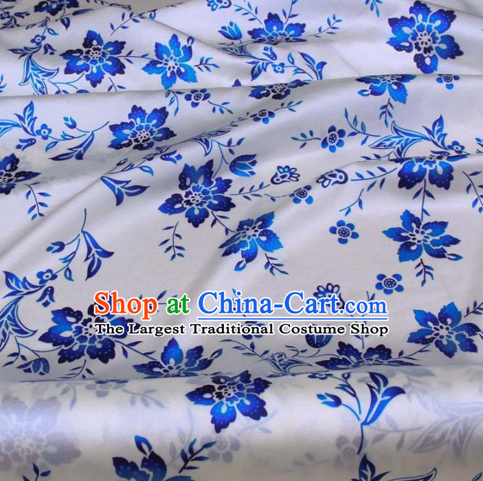 Traditional Chinese Classical Flowers Pattern White Gambiered Guangdong Gauze Silk Fabric Ancient Hanfu Dress Silk Cloth