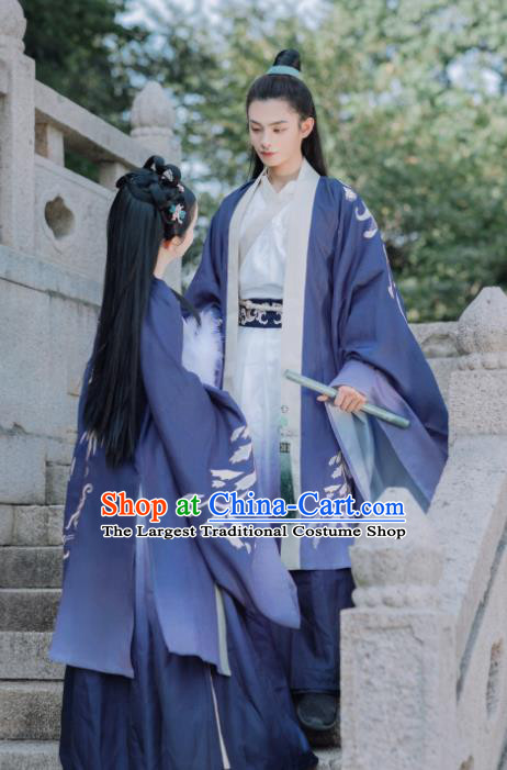 Traditional Chinese Wei Jin Dynasty Replica Costumes Ancient Swordsman Hanfu Clothing Complete Set