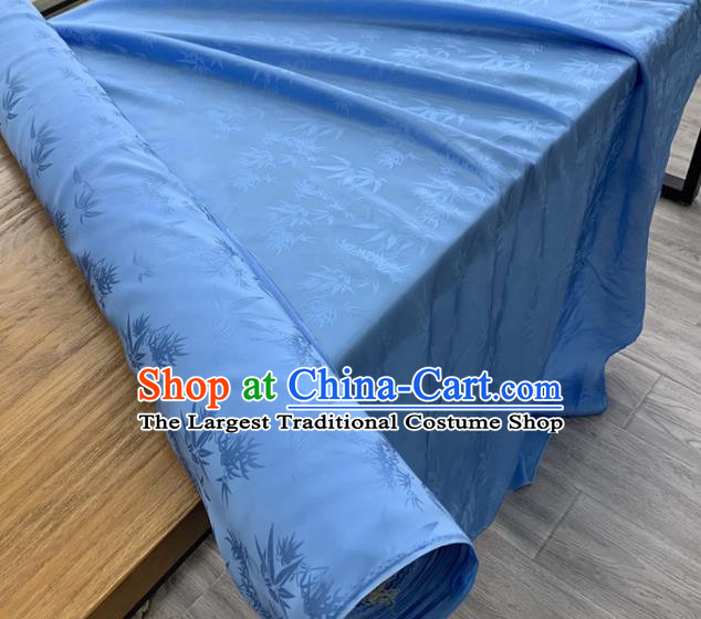 Chinese Classical Bamboo Leaf Pattern Blue Silk Fabric Traditional Ancient Hanfu Dress Brocade Cloth