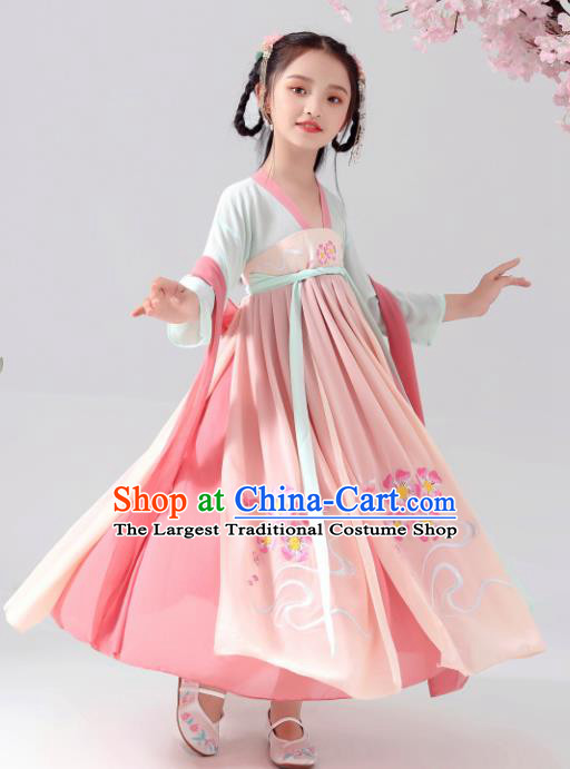 Chinese Traditional Tang Dynasty Girls Pink Hanfu Dress Ancient Princess Costume for Kids