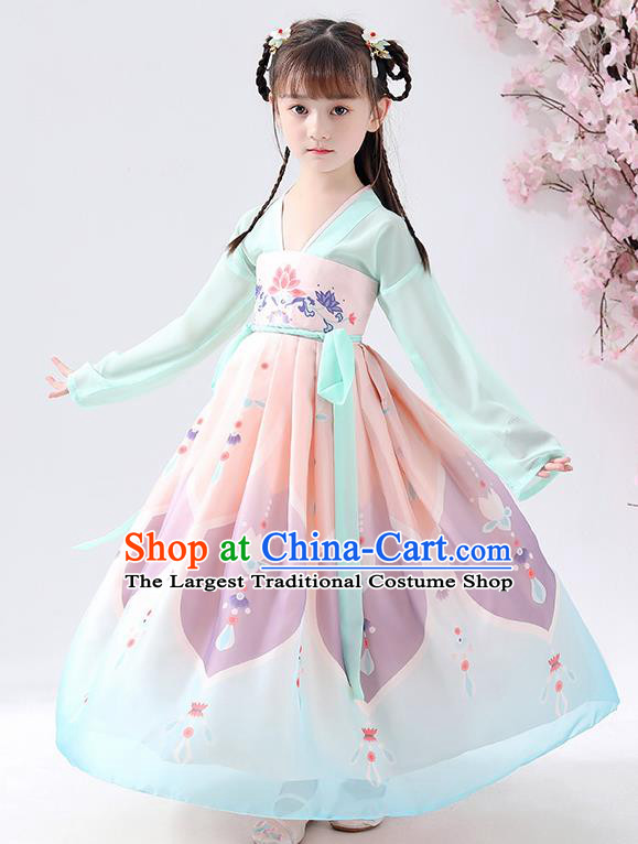 Chinese Traditional Tang Dynasty Girls Printing Light Blue Hanfu Dress Ancient Princess Costume for Kids