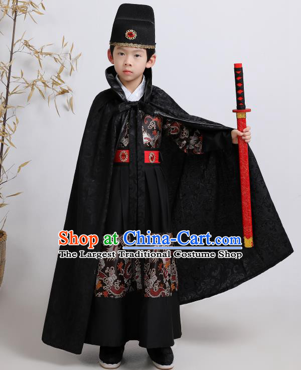 Chinese Traditional Ming Dynasty Imperial Guards Black Hanfu Clothing Ancient Boys Swordsman Costume for Kids