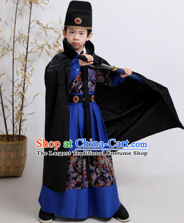 Chinese Traditional Ming Dynasty Imperial Guards Royalblue Hanfu Clothing Ancient Boys Swordsman Costume for Kids
