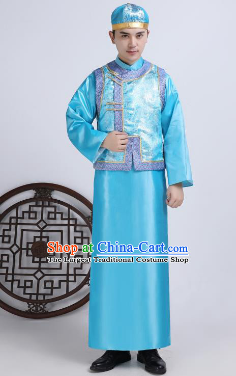 Chinese Traditional Qing Dynasty Royal Prince Blue Hanfu Clothing Ancient Manchu Nobility Childe Costume for Men