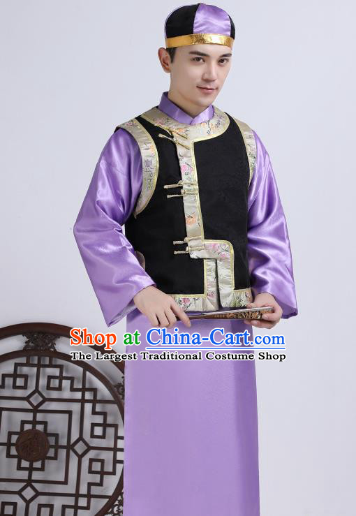 Chinese Traditional Qing Dynasty Royal Prince Purple Hanfu Clothing Ancient Manchu Nobility Childe Costume for Men