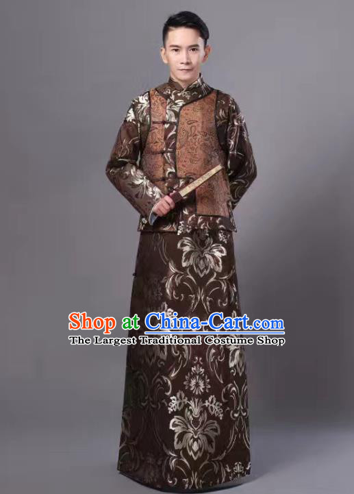 Chinese Traditional Qing Dynasty Prince Brown Hanfu Clothing Ancient Manchu Nobility Childe Costume for Men