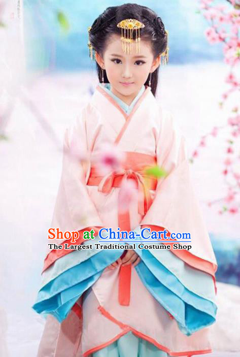 Chinese Traditional Han Dynasty Girls Pink Hanfu Dress Ancient Court Princess Costume for Kids