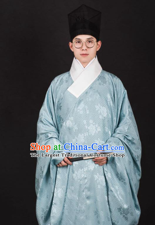 Chinese Traditional Ming Dynasty Taoist Priest Hanfu Green Robe Ancient Scholar Costume for Men