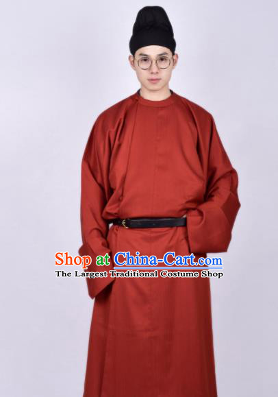 Chinese Traditional Tang Dynasty Imperial Bodyguard Hanfu Red Robe Ancient Swordsman Costume for Men