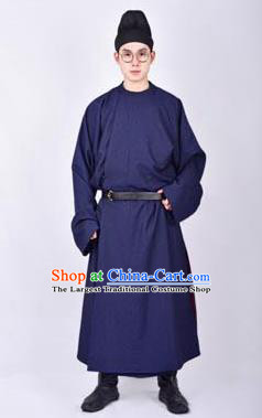 Chinese Traditional Tang Dynasty Imperial Bodyguard Hanfu Royalblue Robe Ancient Swordsman Costume for Men