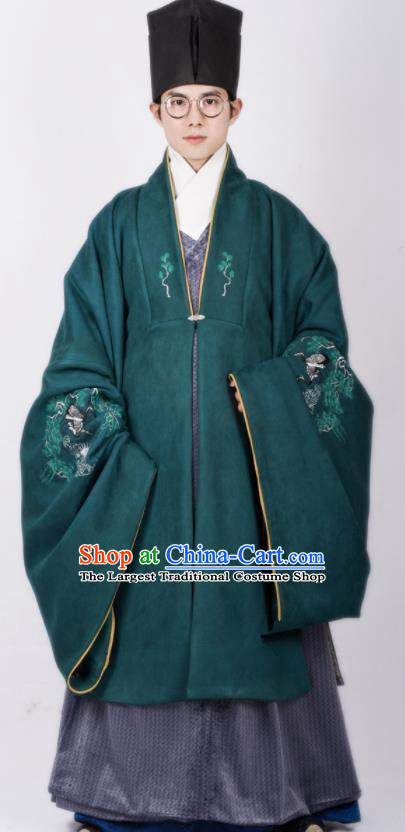 Chinese Traditional Ming Dynasty Scholar Hanfu Green Cloak Ancient Taoist Priest Costume for Men