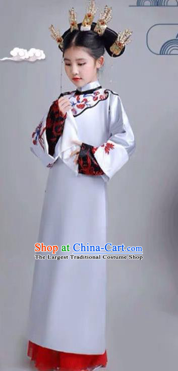 Chinese Traditional Qing Dynasty Girls Blue Qipao Dress Ancient Manchu Princess Costume for Kids