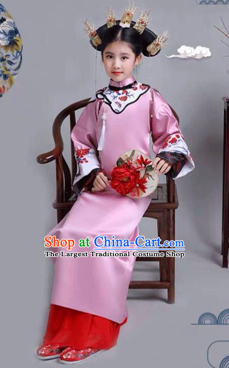 Chinese Traditional Qing Dynasty Girls Rosy Qipao Dress Ancient Manchu Princess Costume for Kids