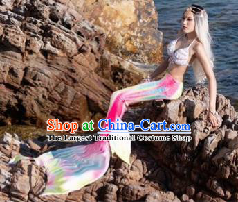 Halloween Cosplay Mermaid Colorful Fishtail Swimwear Dress Nylon Fish Tail Skirt Clothing for Women